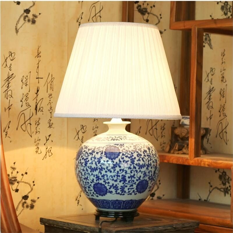Best Aliexpress Com Buy Chinese Vintage Classic White Blue Porcelain Table Lamp For Bedroom Ceramic With Pictures