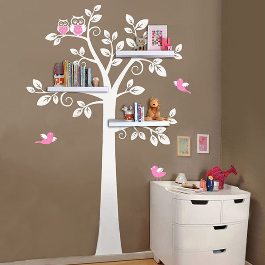 Best Nursery Wall Art Decals Tree Owl Baby And Mother Wall Sticker Removable Shelves For Kids Bedroom With Pictures