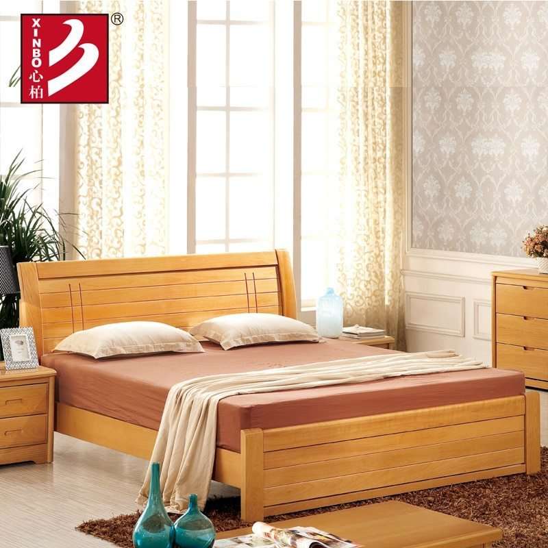 Best Wooden Home Furniture Beech Wood Bed Bedroom Sets Double With Pictures