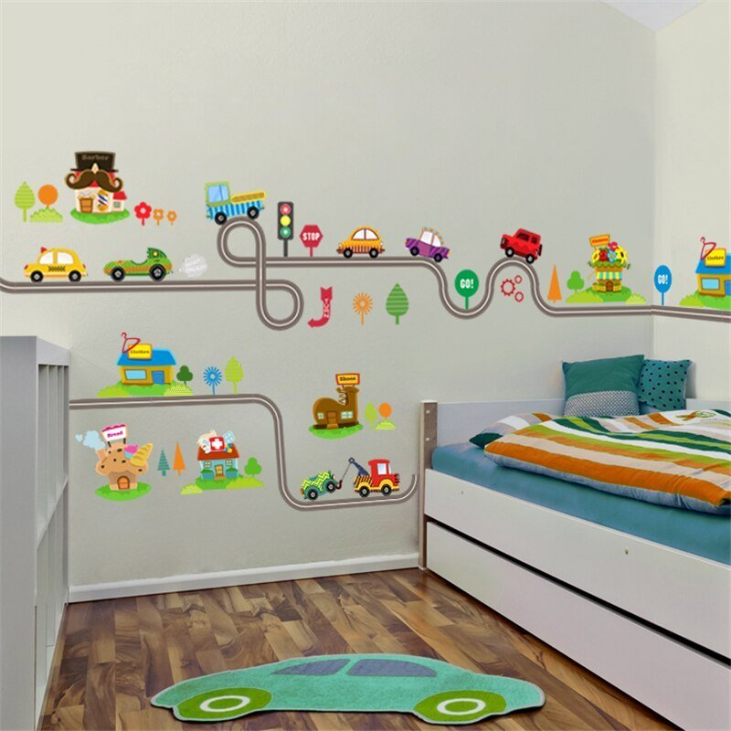 Best Cartoon Cars Highway Track Wall Stickers For Kids Rooms With Pictures
