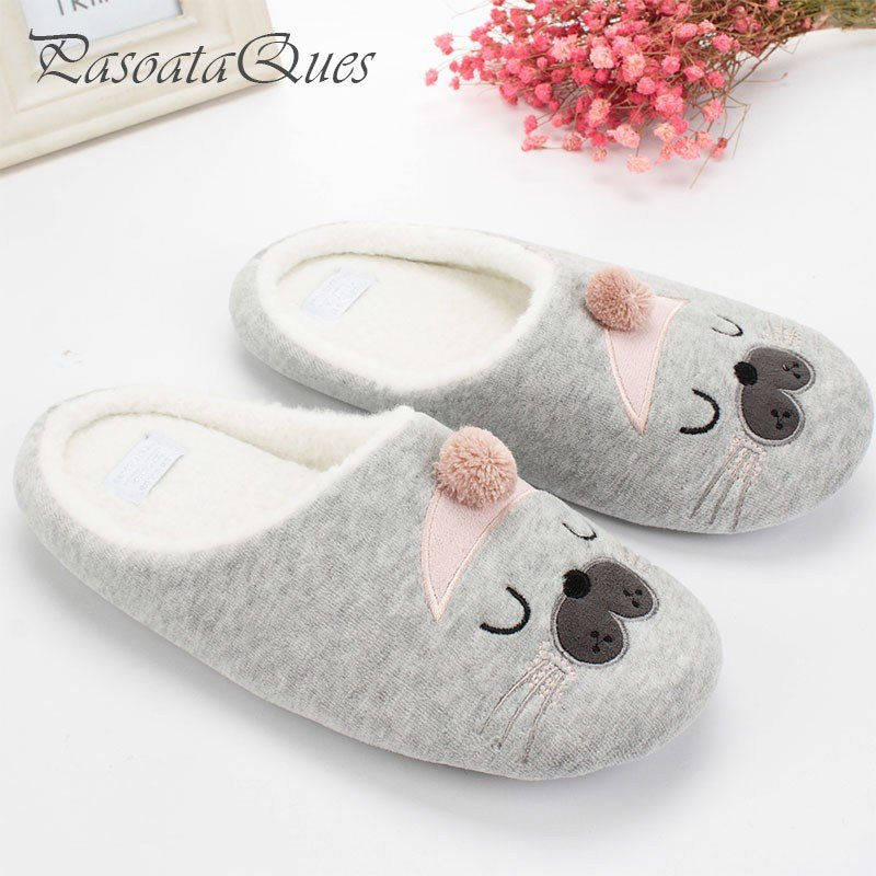 Best Cute Cat Animal Pattern Cotton Home Slippers Women Sandals With Pictures
