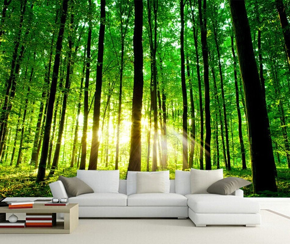 Best Custom 3D Photo Wallpaper Sun Forest Mural For Living With Pictures