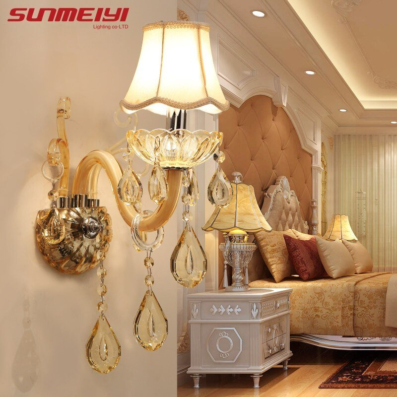 Best European Design Led Luxury Hanging K9 Crystal Wall Lamps With Pictures