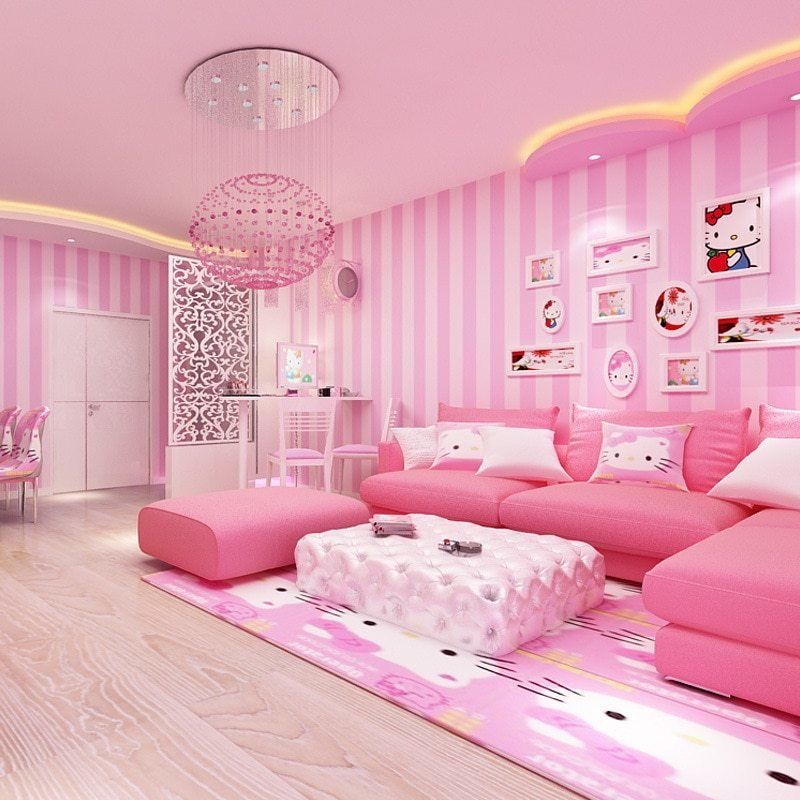 Best Beibehang Modern Simple Wide Striped Pink Wallpaper Cute With Pictures