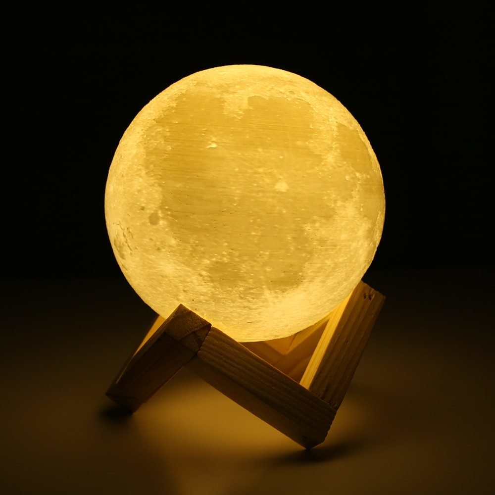 Best Rechargeable 3D Print Moon Lamp 2 Color Change Touch With Pictures