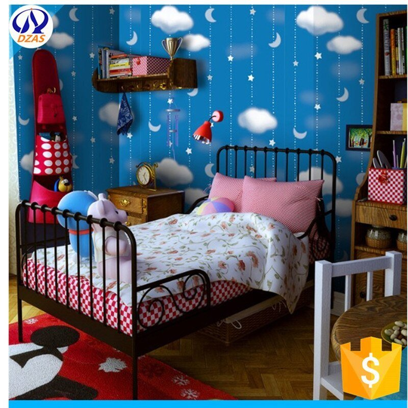 Best Green Star Moon Blue Night Sky Boy Children Room Wallpaper With Pictures