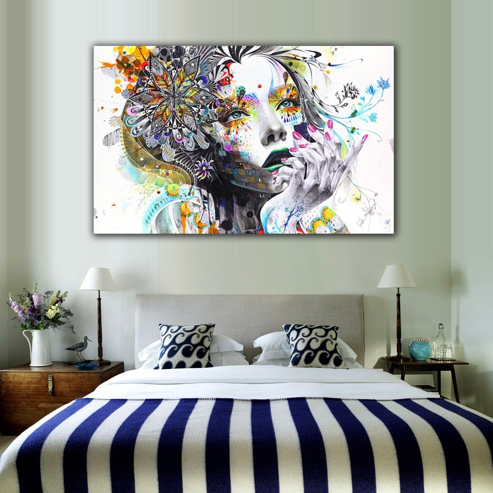 Best 1 Piece Modern Wall Art Girl With Flowers Unframed Canvas With Pictures