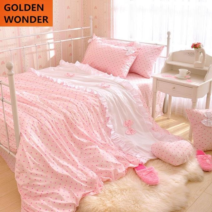 Best Hot Sale Dot Princess Bedding Set Gentlewomen Pink 100 With Pictures