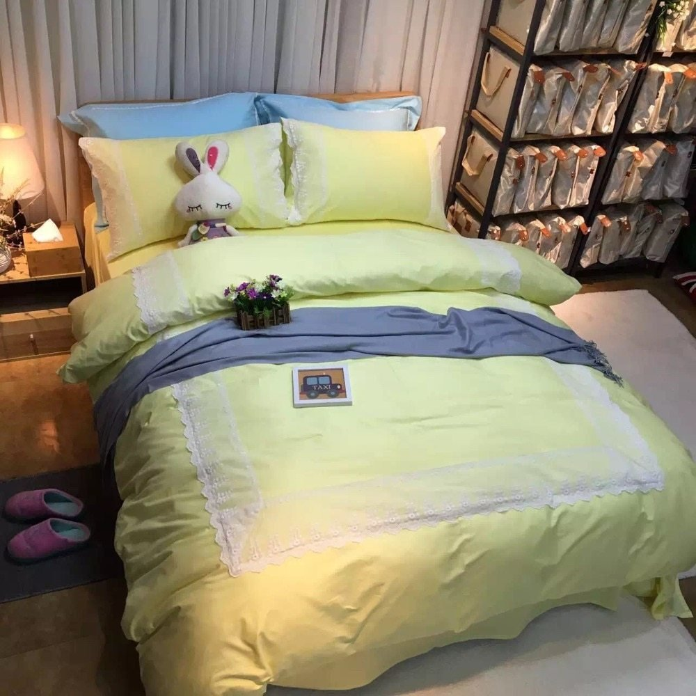 Best 100 Cotton Light Pastel Yellow Queen Size Bedding Full With Pictures