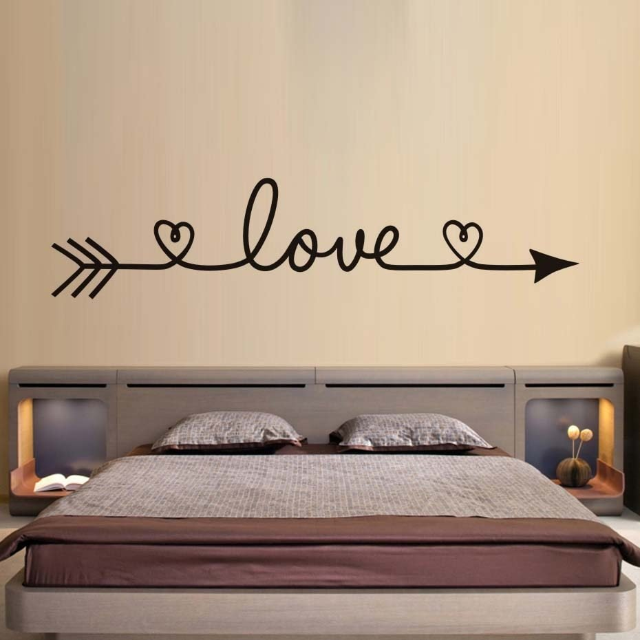 Best Dctop Love Arrow Wall Stickers Romantic Bedroom Decals With Pictures