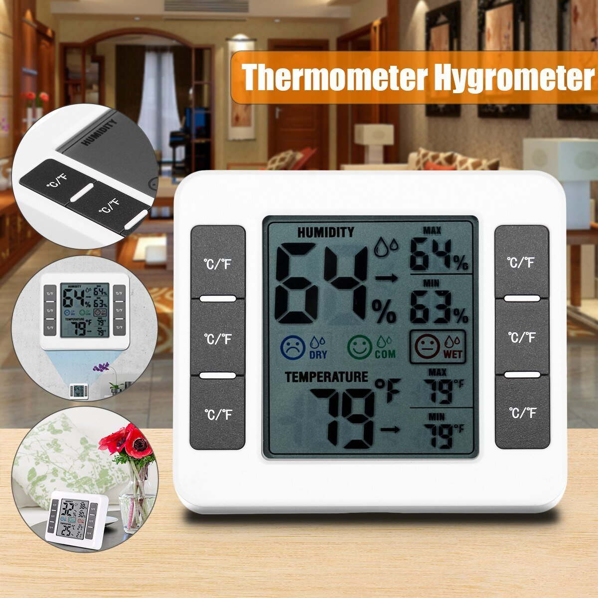 Best Lcd Digital Thermometer Hygrometer Indoor Bedroom With Pictures