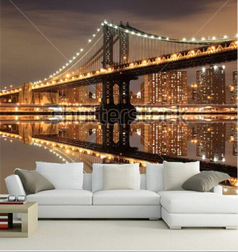 Best Custom 3D Murals Manhattan Bridge And Manhattan Skyline At With Pictures