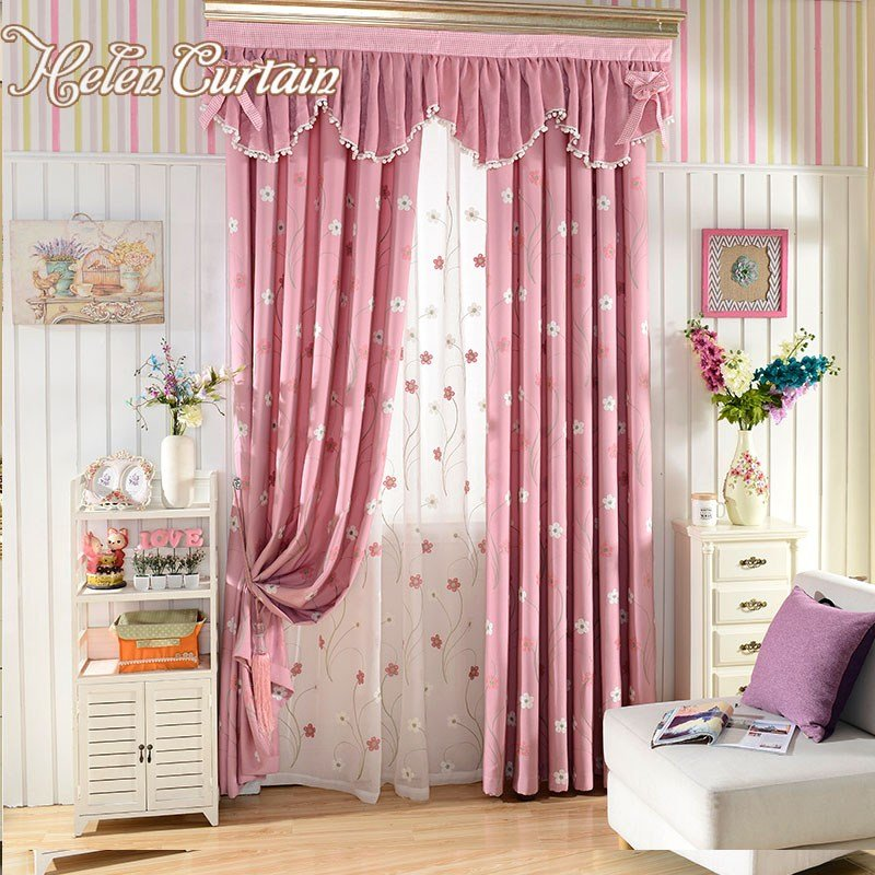 Best Helen Curtain Pink Embroidered Flower Children Living Room With Pictures