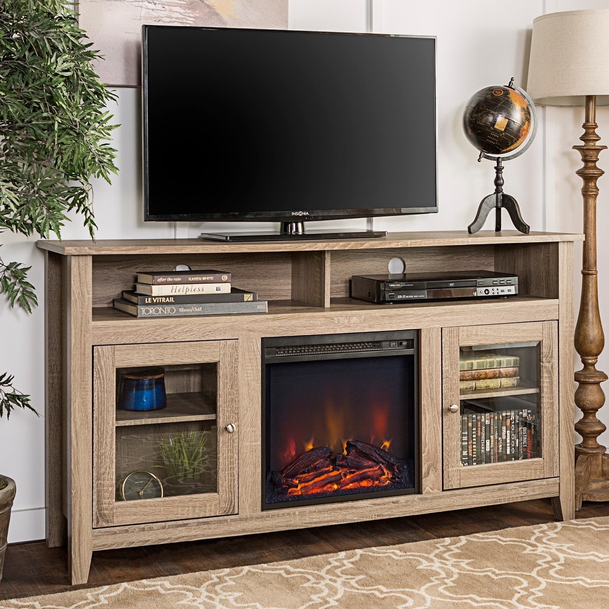Best 58 Inch Tv Stand For Flat Screens With Fireplace Electric With Pictures