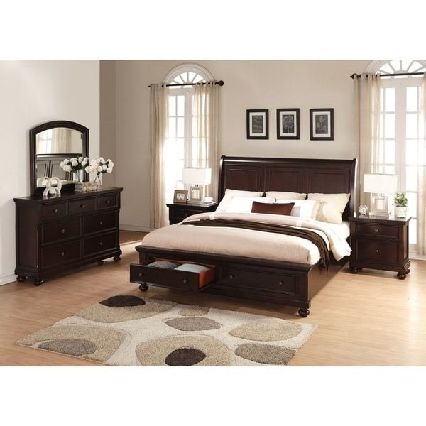 Best Shop Brishland Rustic Cherry King Size Storage Bedroom Set With Pictures