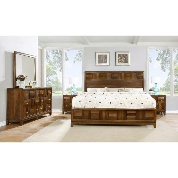 Best Shop Calais Solid Wood Construction Bedroom Set With Bed Dresser Mirror 2 Night Stands Queen With Pictures