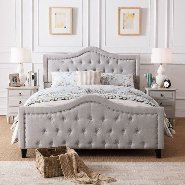 Best Shop Virgil Upholstered Tufted Fabric Queen Size Bed Set With Pictures