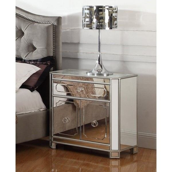 Best Shop Best Master Furniture 2 Drawer Mirrored Nightstand With Ring Pull Handles Free Shipping With Pictures