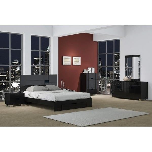 Best Shop Aria Contemporary 4 Piece Black Wood Bedroom Set On With Pictures