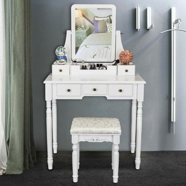 Best Shop Modern Bedroom Dresser Makeup Vanity Table And Stool Set With Mirror White Free Shipping With Pictures