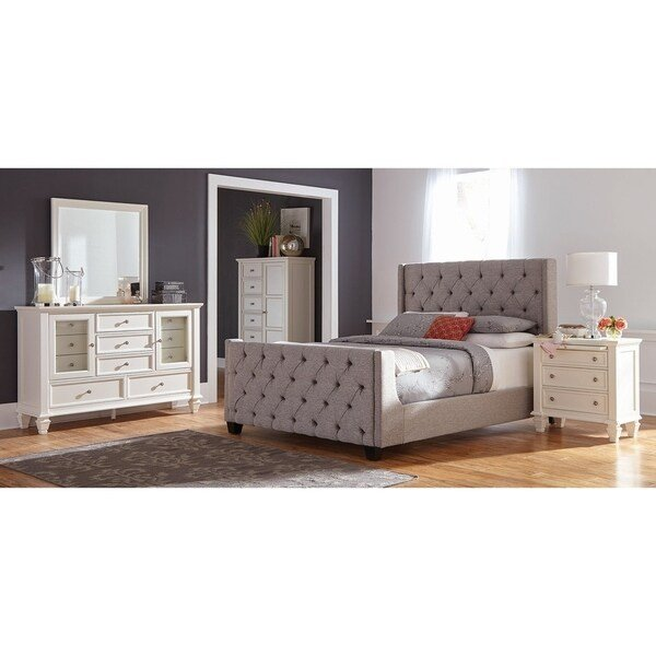 Best Shop Hadley Grey And White 3 Piece Upholstered Bedroom Set With Pictures