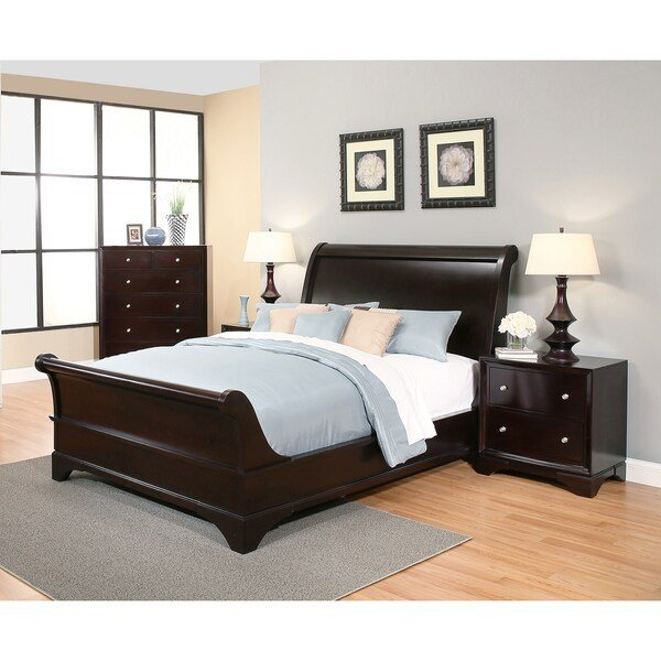 Best Shop Abbyson Kingston 4 Piece Espresso Sleigh Queen Size With Pictures