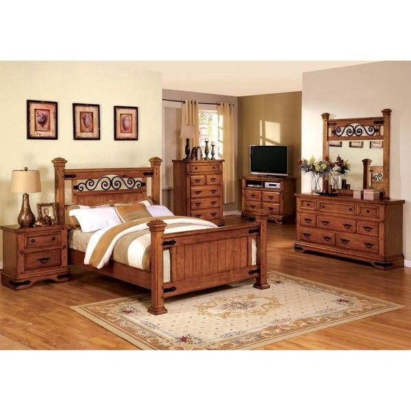 Best Shop Furniture Of America 4 Piece Country Style American Oak Bedroom Set Free Shipping Today With Pictures