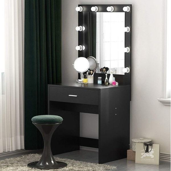 Best Shop Makeup Vanity With Lighted Mirror Dressing Table With Pictures