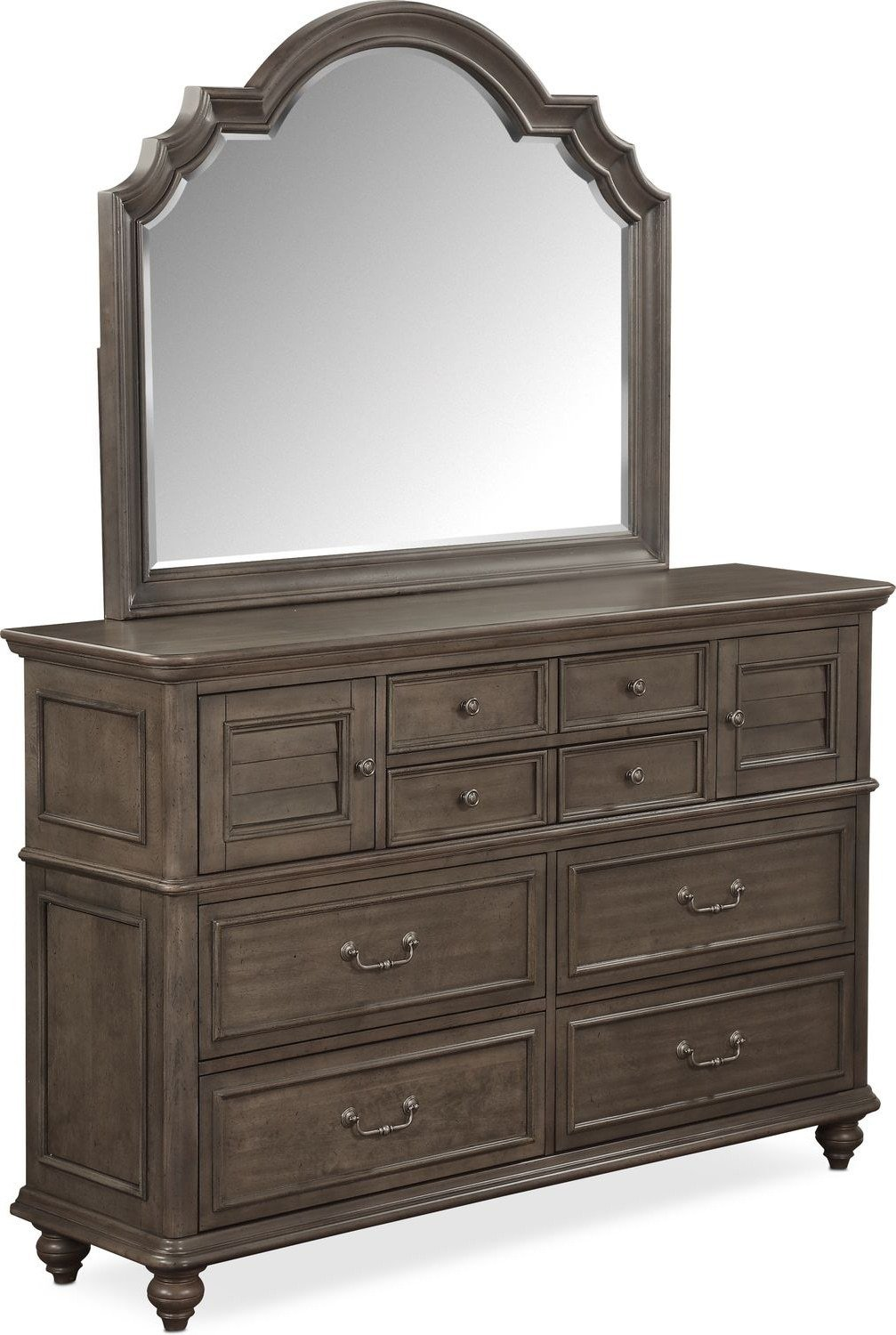 Best Charleston Dresser And Mirror Gray Value City With Pictures