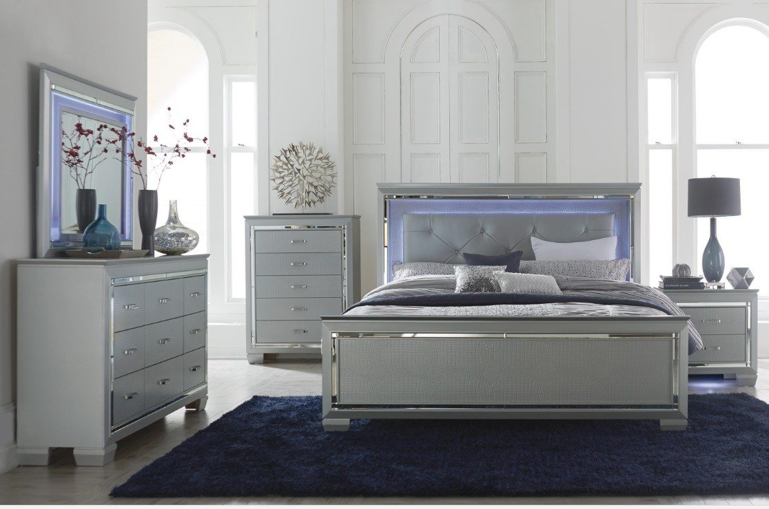 Best Allura Collection Bedroom Set Silver Finish 1916He Casye With Pictures