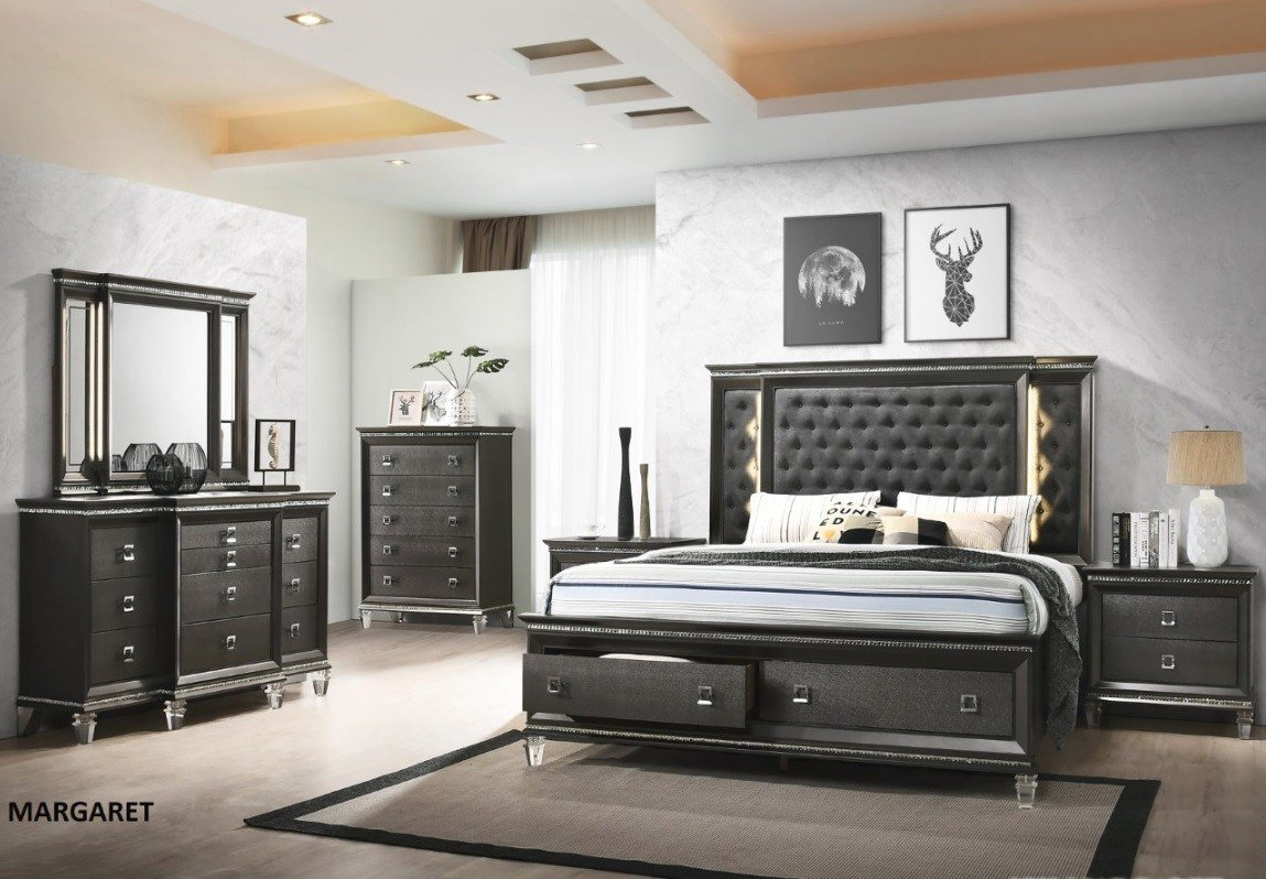 Best Bellagio Collection Bedroom Set Gray Finish Casye Furniture With Pictures