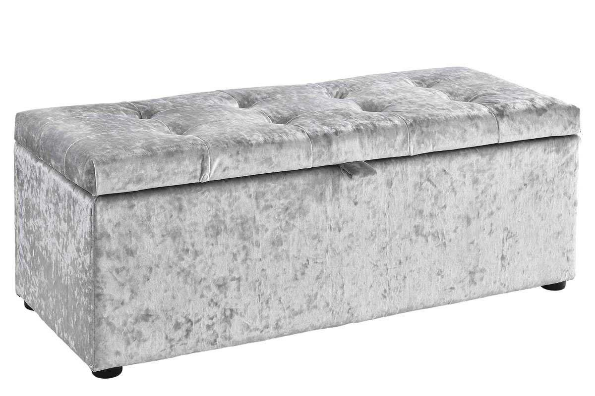 Best Ottoman Storage Chest Bedroom Blanket Box Silver Crushed With Pictures