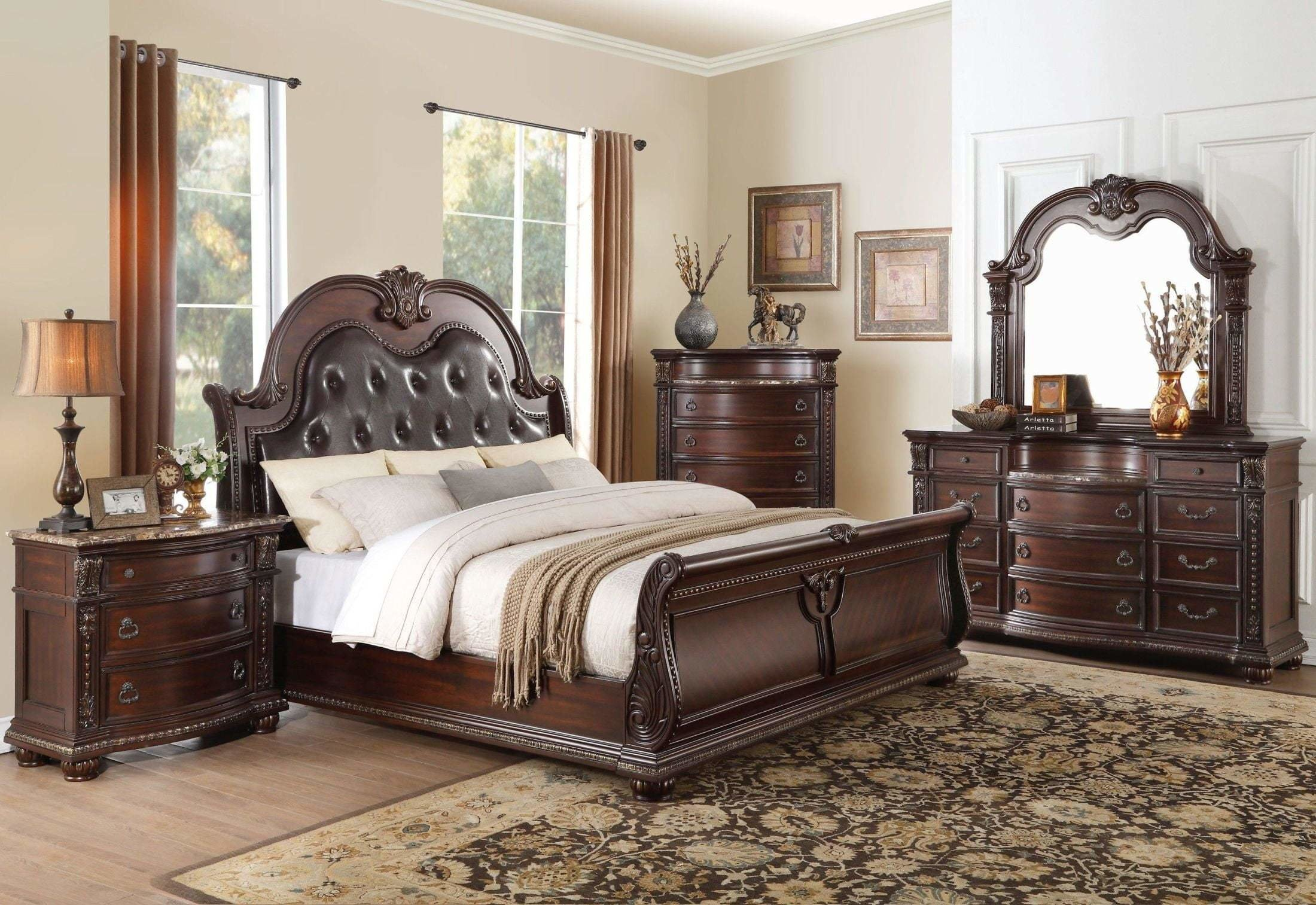 Best Homelegance Cavalier Dark Cherry Sleigh Bedroom Set Cavalier Collection 4 Reviews With Pictures