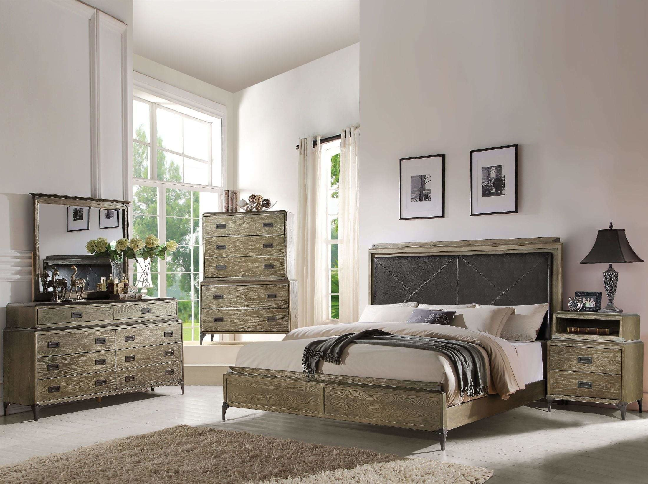 Best Acme Athouman Weathered Oak Panel Bedroom Set Athouman With Pictures