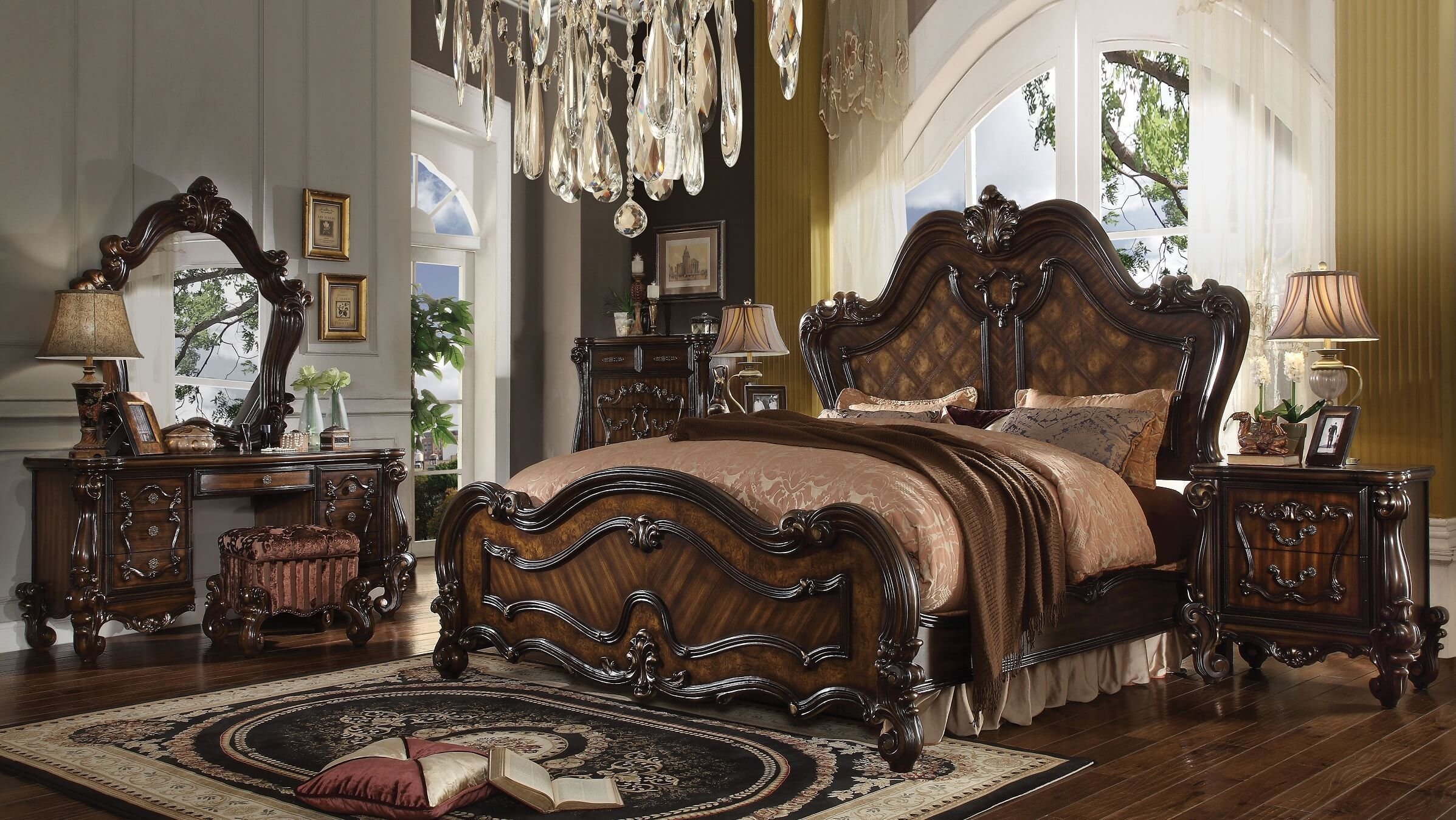 Best Acme Acme Versailles Bedroom Set In Cherry Oak With Pictures