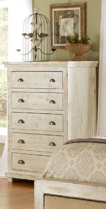 Best Willow Distressed White Slat Bedroom Set 1Stopbedrooms With Pictures