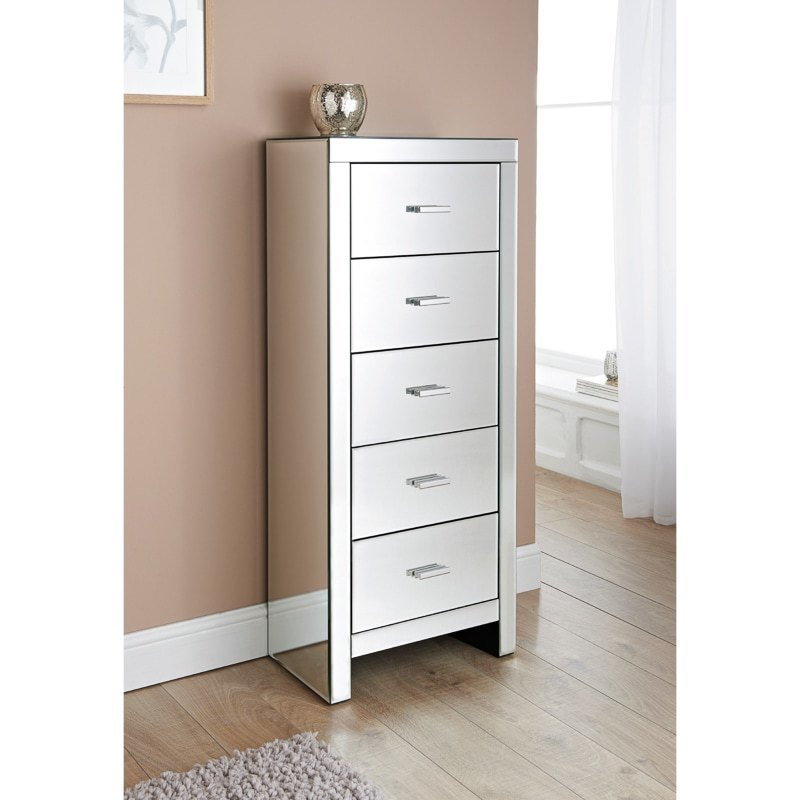 Best Florence Mirrored 5 Drawer Tall Chest Bedroom Furniture With Pictures