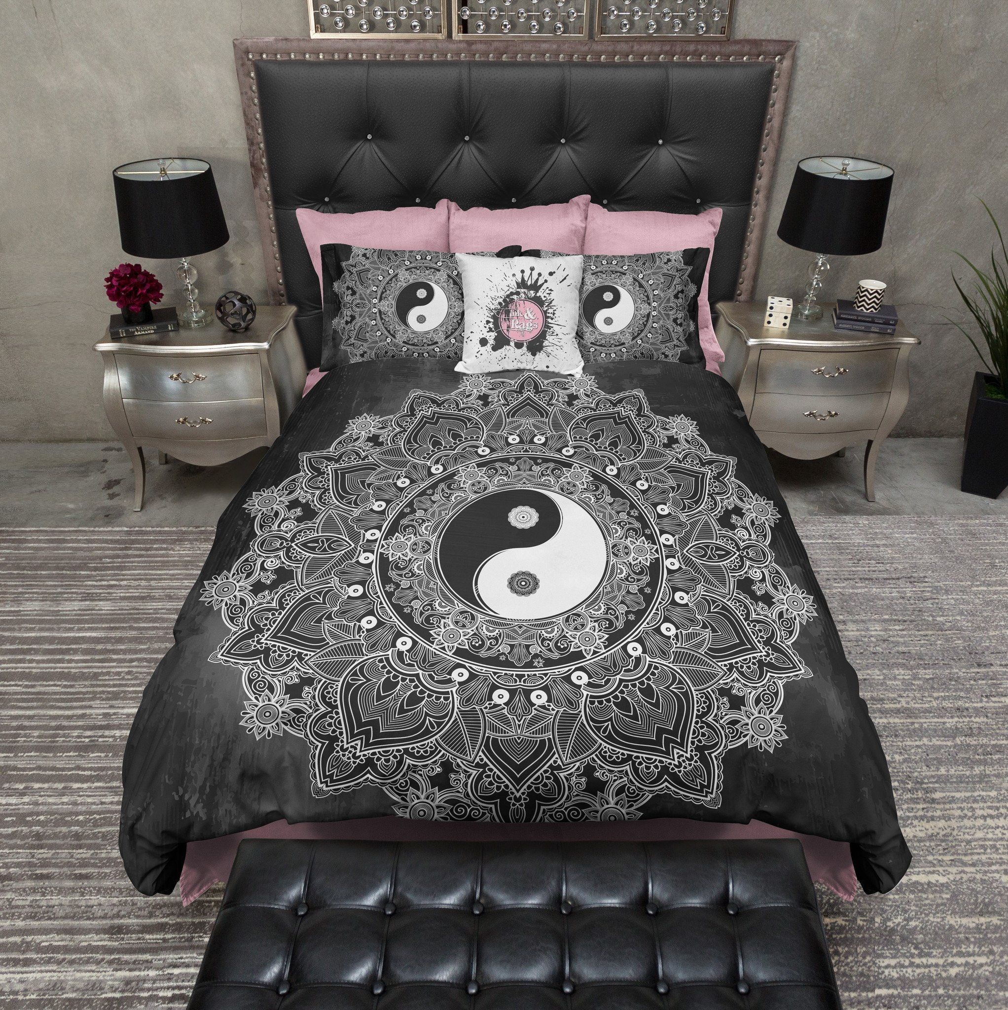 Best Black And White Henna Mandala Yin Yang Bedding Ink And Rags With Pictures