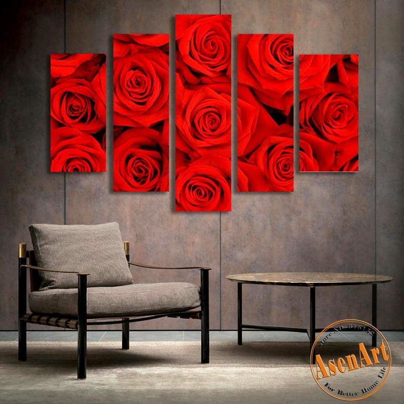 Best 5 Panel Wall Art Romantic Red Rose Picture For Wall Decor With Pictures