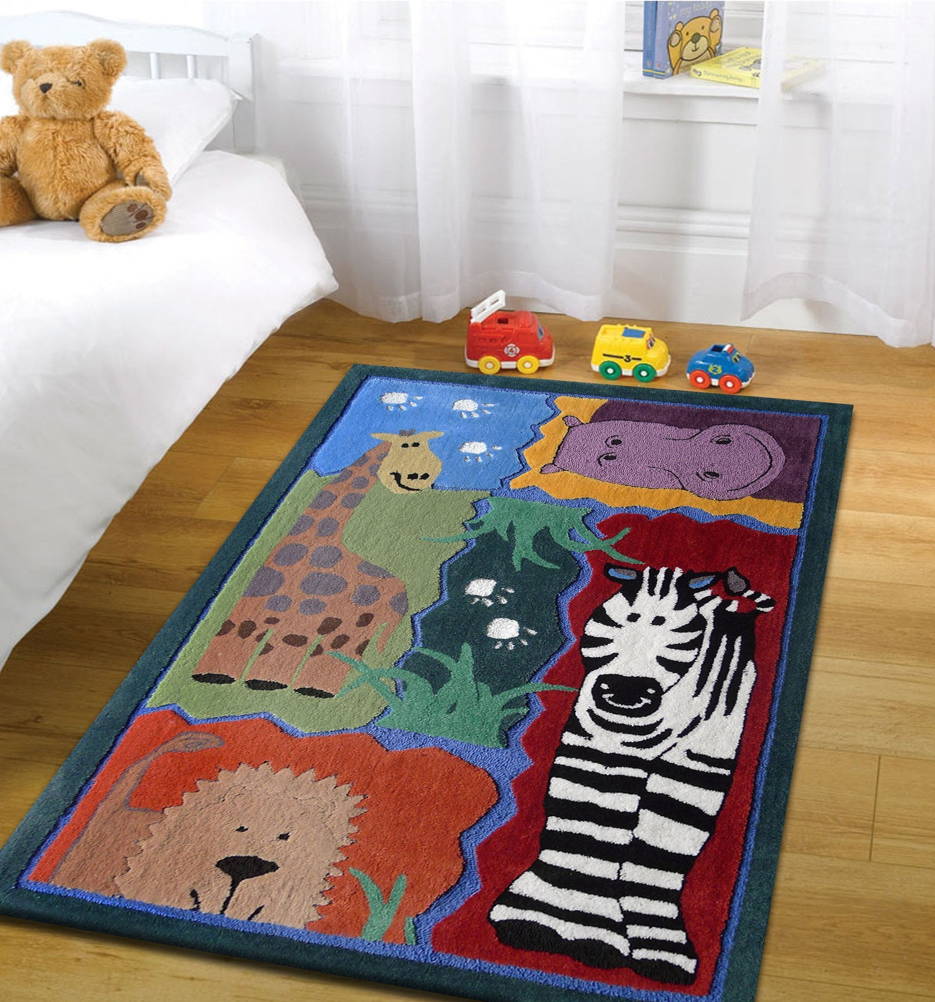 Best 4 X 6 Ft Boy S Bedroom Kids Area Rug With Zoo Animals With Pictures