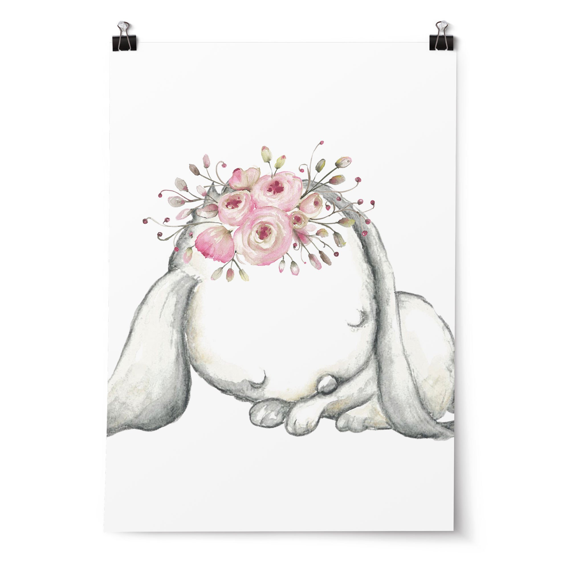 Best Woodland Boho Floral Bunny Nursery Wall Art Print Set With Pictures