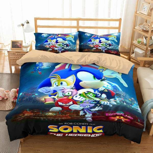 Best 3D Customize Sonic The Hedgehog Movie Bedding Set Duvet Cover Set Bedr Three Lemons Hometextile With Pictures