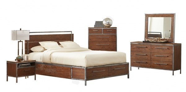 Best Arcadia Contemporary Weathered Acacia Wood 2Pc Bedroom Set With Pictures