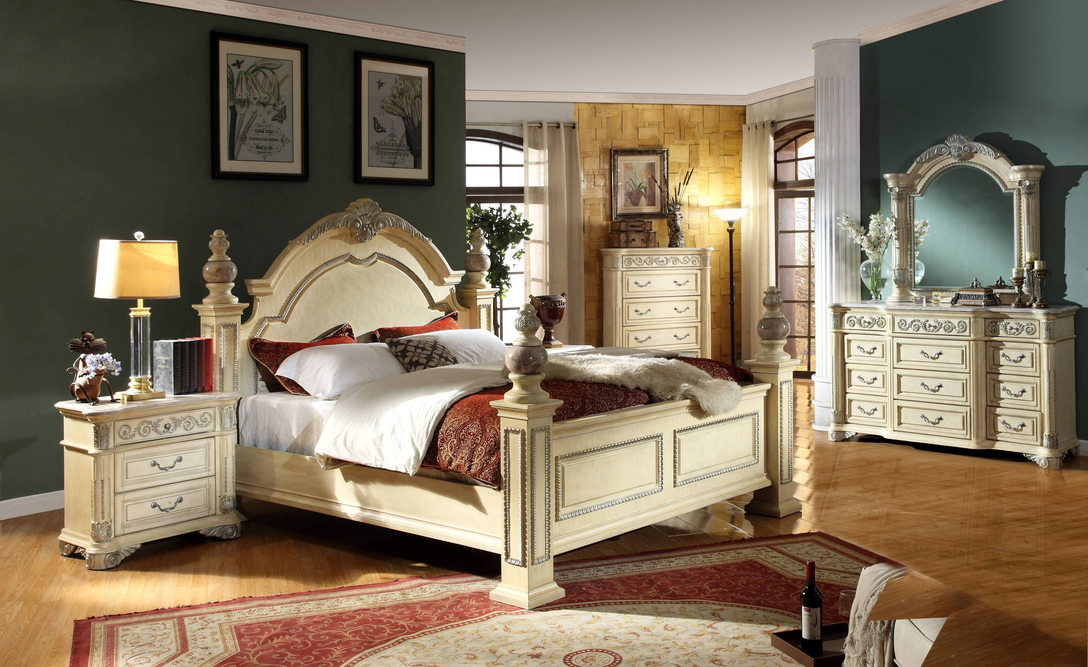 Best Sienna Antique White Solid Wood Master Bedroom Set The Classy Home With Pictures