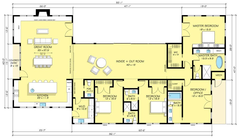 Best Ranch Style House Plan 4 Beds 4 5 Baths 3402 Sq Ft Plan With Pictures