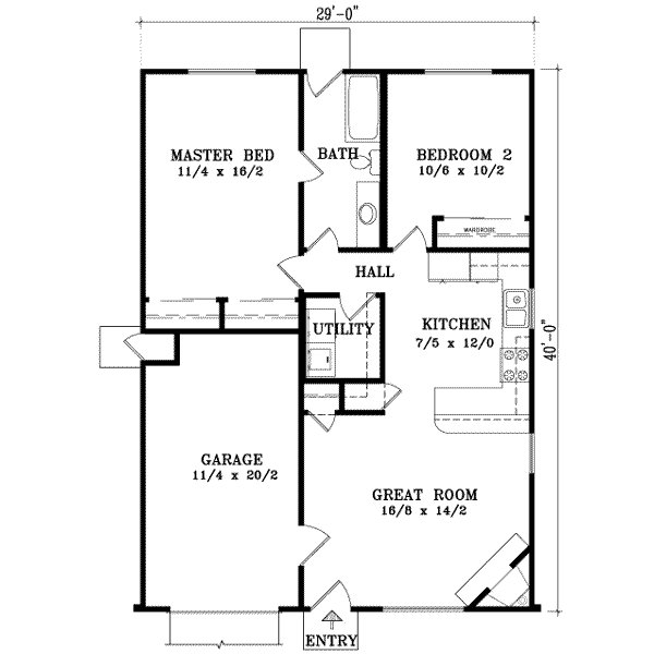 Best Ranch Style House Plan 2 Beds 1 00 Baths 921 Sq Ft Plan 1 163 With Pictures