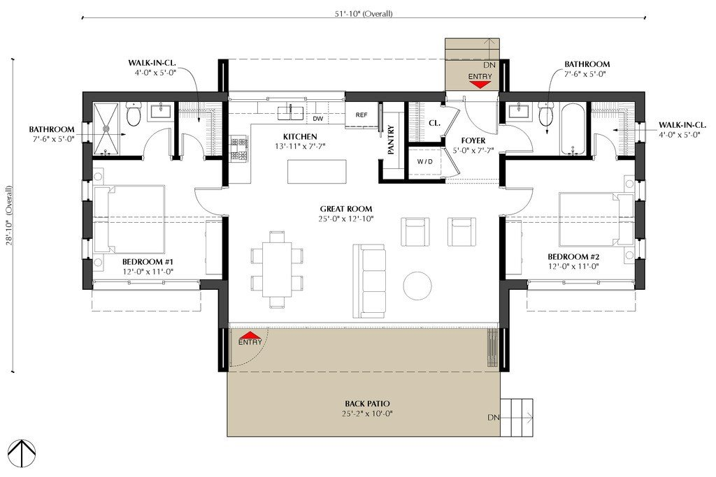 Best Modern Style House Plan 2 Beds 2 Baths 991 Sq Ft Plan 933 5 With Pictures