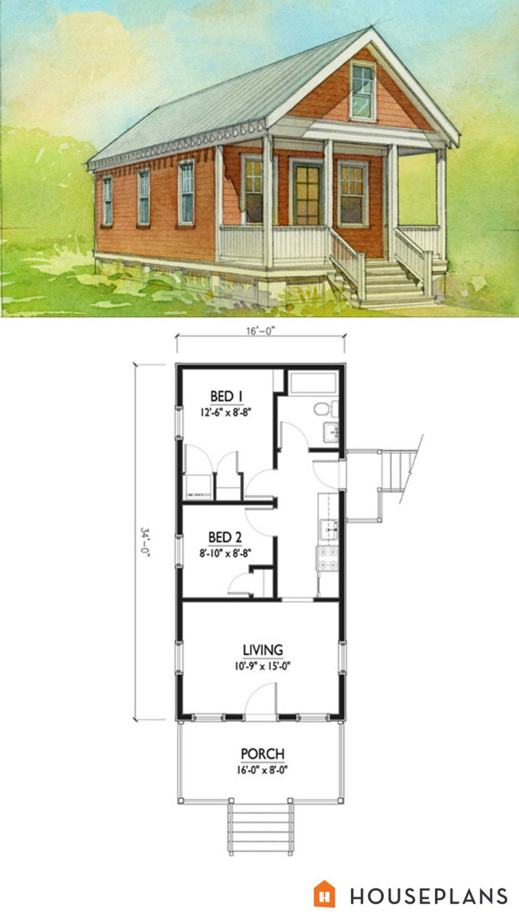 Best Cottage Style House Plan 2 Beds 1 Baths 544 Sq Ft Plan With Pictures