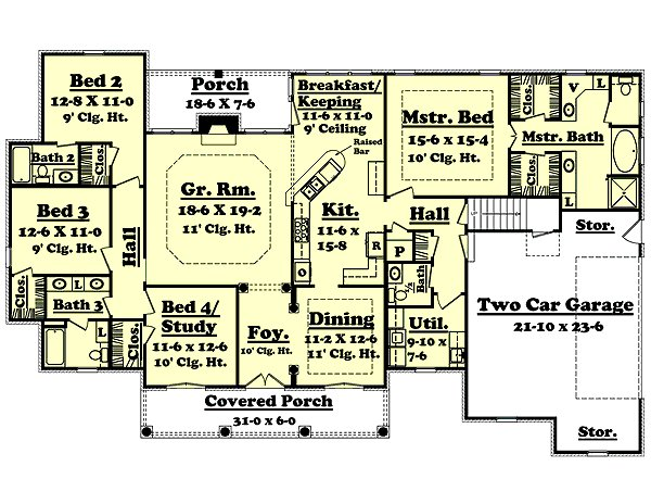 Best European Style House Plan 4 Beds 3 50 Baths 2500 Sq Ft Plan 430 34 With Pictures