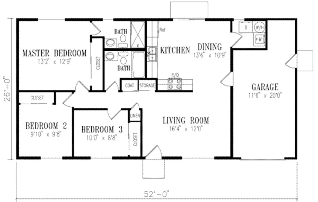 Best Ranch Style House Plan 3 Beds 2 Baths 1046 Sq Ft Plan 1 152 With Pictures